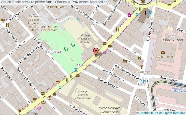 plan École Primaire Privée Saint-charles La Providence Montpellier Montpellier