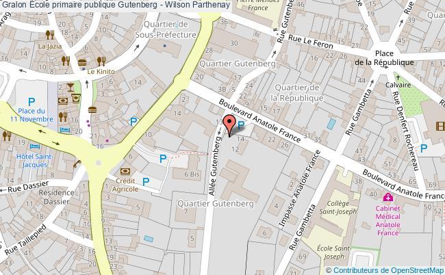 plan École Primaire Publique Gutenberg - Wilson Parthenay Parthenay