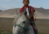 Photo Enfant mongol à cheval