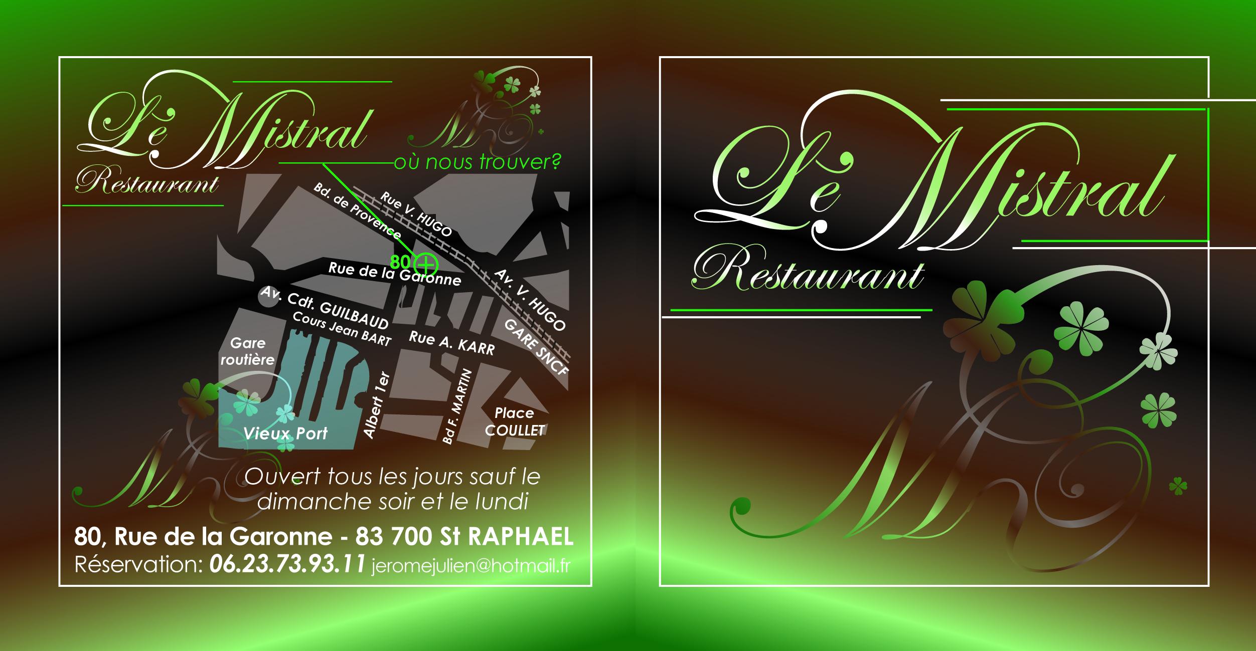 Restaurant Carte Bishop Saint Raphael