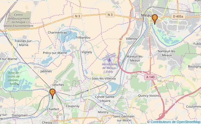 plan Canal de Meaux a Chalifert