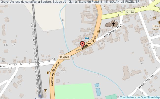 plan Au Long Du Canal De La Sauldre. Balade De 10km à L'etang Du Puits(18-45) Nouan-le-fuzelier