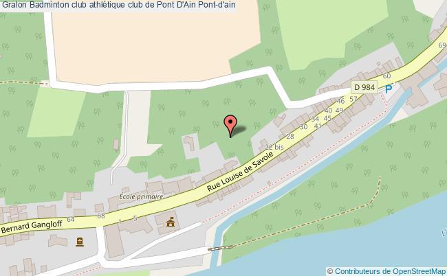 plan Badminton Club Athlétique Club De Pont D'ain Pont-d'ain