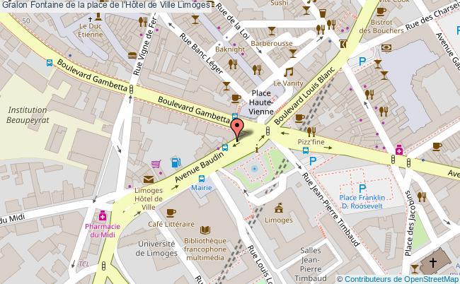 plan Fontaine De La Place De L'hôtel De Ville Limoges