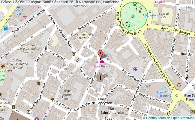 plan L'église Collégiale Saint Sébastien Né, à Narbonne (11) Narbonne