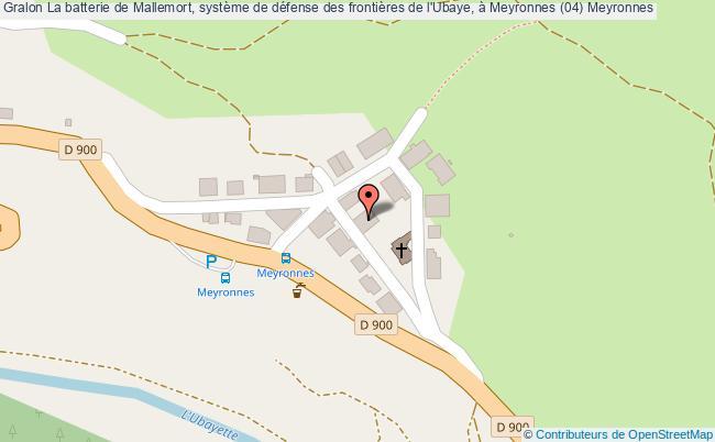 plan La Batterie De Mallemort, Système De Défense Des Frontières De L'ubaye, à Meyronnes (04) Meyronnes