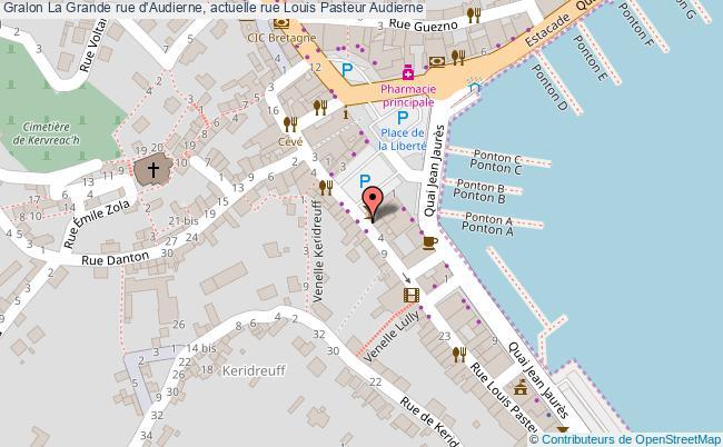 plan La Grande Rue D'audierne, Actuelle Rue Louis Pasteur Audierne