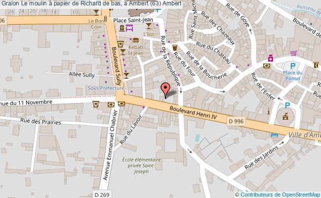 plan association Le Moulin à Papier De Richard De Bas, à Ambert (63) Ambert Ambert