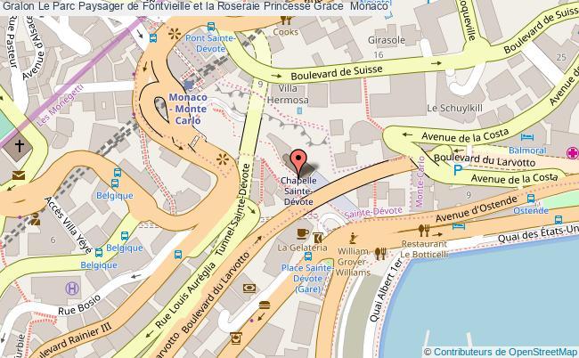 plan Le Parc Paysager De Fontvieille Et La Roseraie Princesse Grace  Monaco