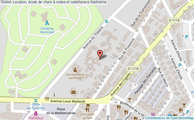 plan Location, école De Chars à Voiles Et Catamarans Narbonne