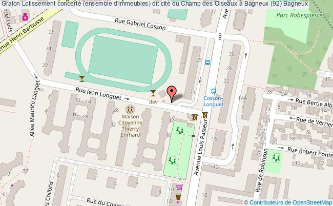 plan Lotissement Concerté (ensemble D'immeubles) Dit Cité Du Champ Des Oiseaux à Bagneux (92) Bagneux