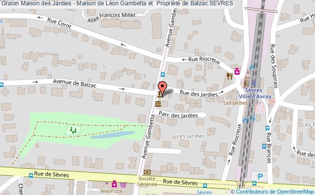 plan Maison Des Jardies - Maison De Léon Gambetta Et  Propriété De Balzac Sevres
