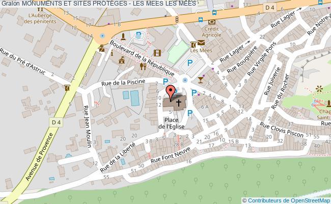 plan Monuments Et Sites Proteges - Les Mees Les Mees