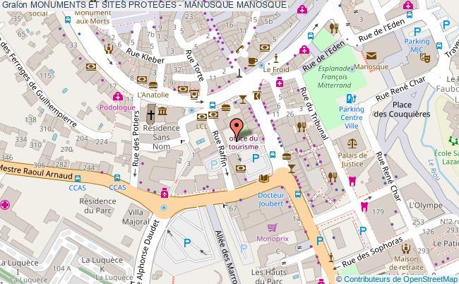 plan Monuments Et Sites Proteges - Manosque Manosque