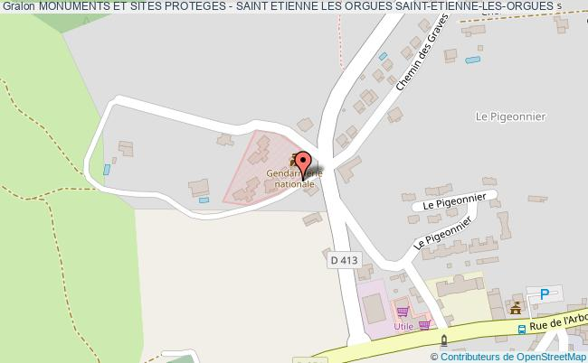 plan Monuments Et Sites Proteges - Saint Etienne Les Orgues Saint-etienne-les-orgues