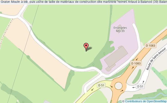 plan Moulin à Blé, Puis Usine De Taille De Matériaux De Construction Dite Marbrerie Yelmini Artaud à Balanod (39) Balanod