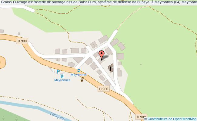 plan Ouvrage D'infanterie Dit Ouvrage Bas De Saint Ours, Système De Défense De L'ubaye, à Meyronnes (04) Meyronnes