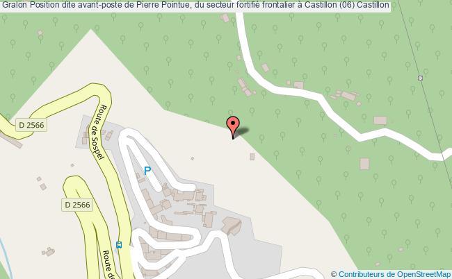 plan Position Dite Avant-poste De Pierre Pointue, Du Secteur Fortifié Frontalier à Castillon (06) Castillon