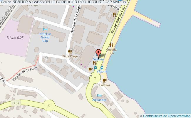 plan Sentier & Cabanon Le Corbusier Roquebrune Cap Martin