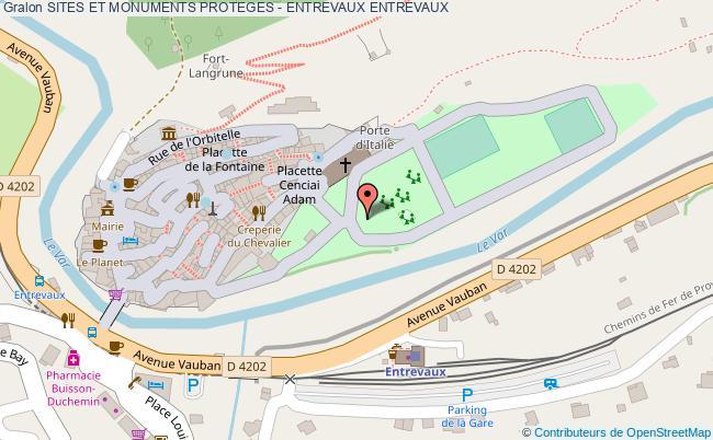 plan Sites Et Monuments Proteges - Entrevaux Entrevaux