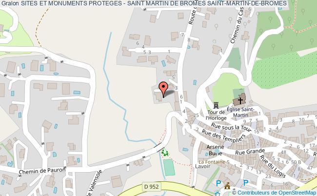 plan Sites Et Monuments Proteges - Saint Martin De Bromes Saint-martin-de-bromes