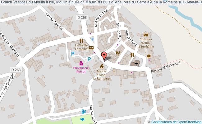 plan Vestiges Du Moulin à Blé, Moulin à Huile Dit Moulin Du Buis D' Aps, Puis Du Serre à Alba La Romaine (07) Alba-la-romaine